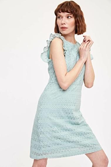 DeFacto Kısa Örme Elbise Turkuaz